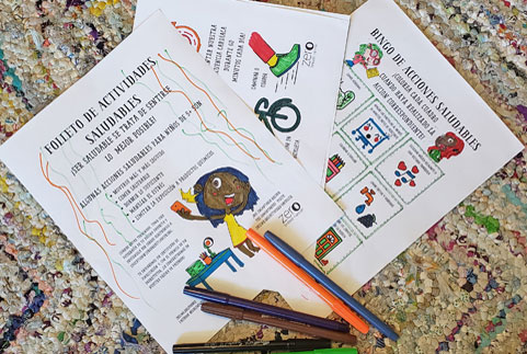 Spanish Activity Booklet pages colored with pens