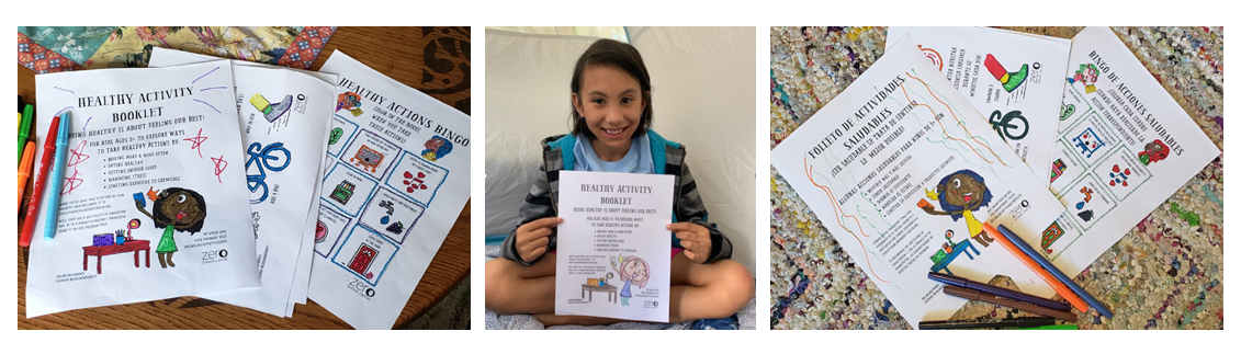 Pictures of activity booklets in English and Spanish and a girl holding a colored-in page.